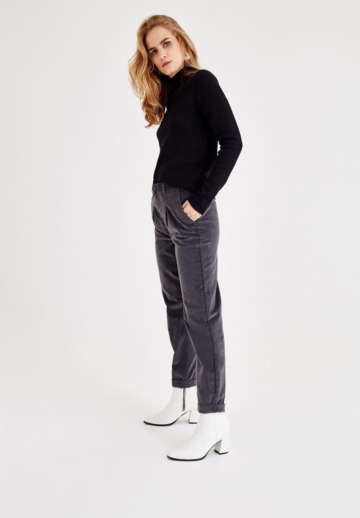 Bayan Gri Kadife Bol Kesim Pantolon