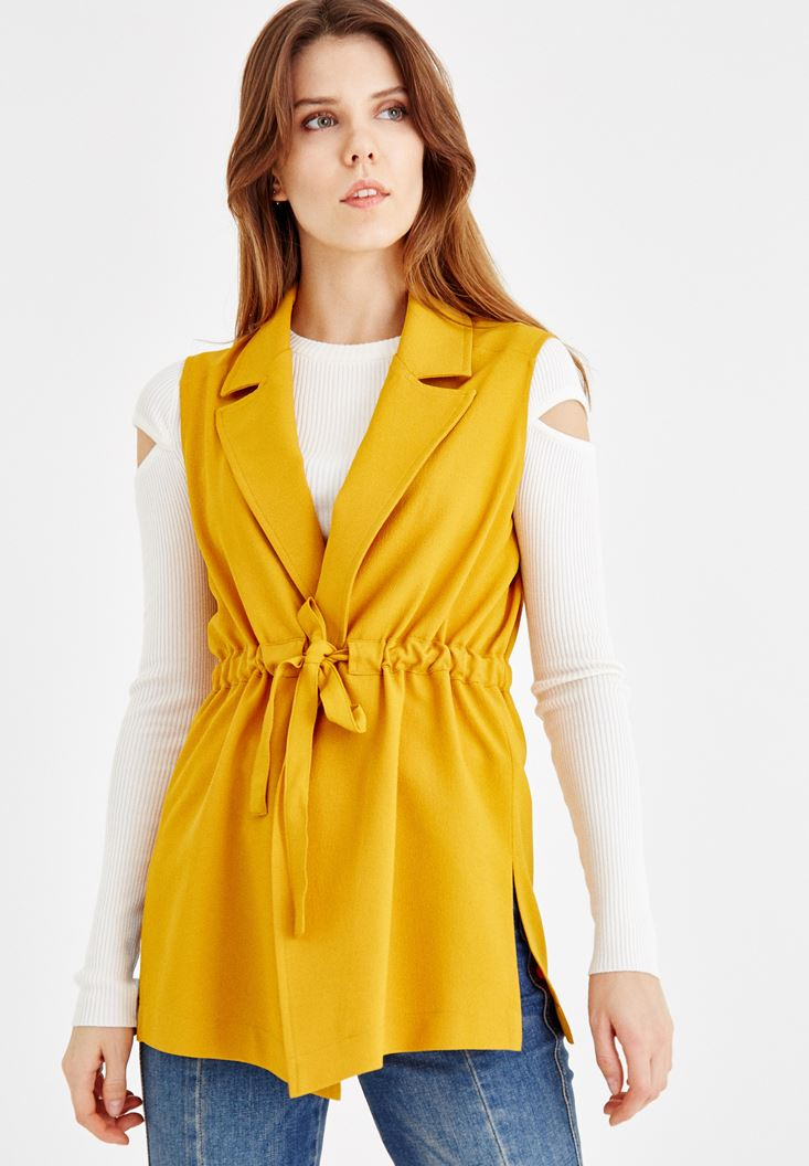 Yellow Vest with Lace Detail