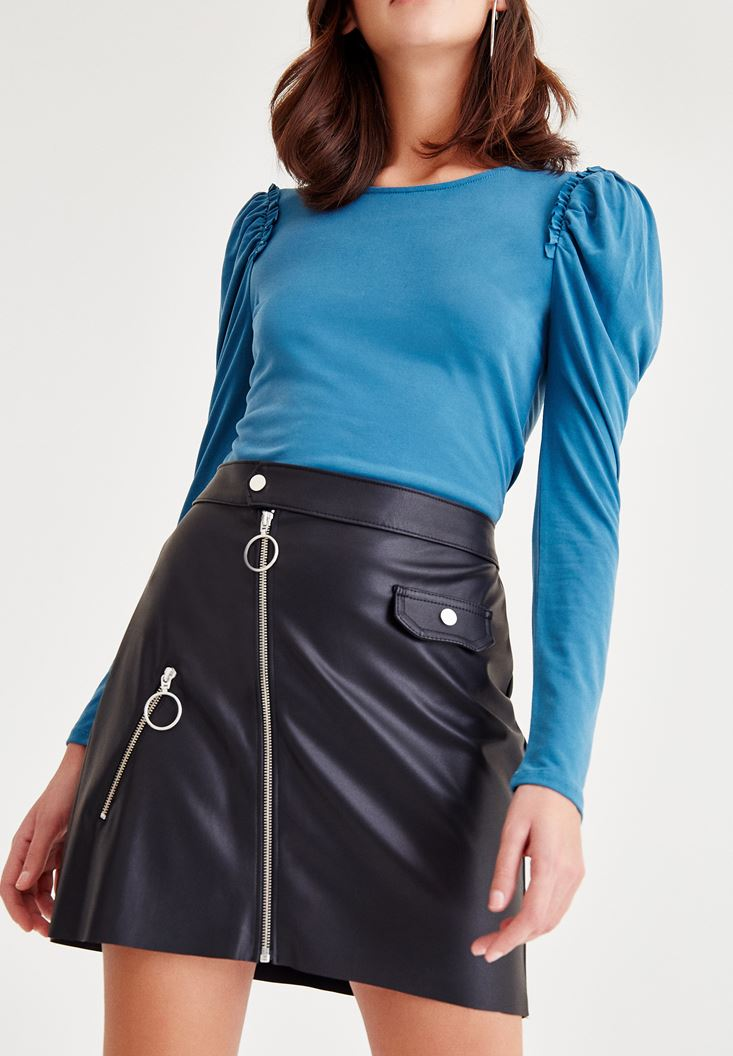 Black Leather Skirt With Asymmetric Zip Detail