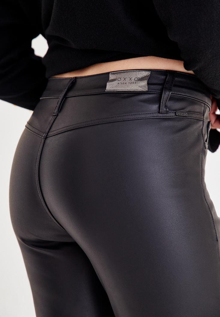 Women Black Straight Cut Pants With Detailed