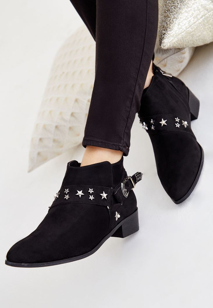 Black Boot with Star Detail and Buckle