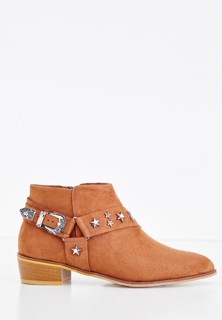 Women Brown Boot with Star Detail and Buckle