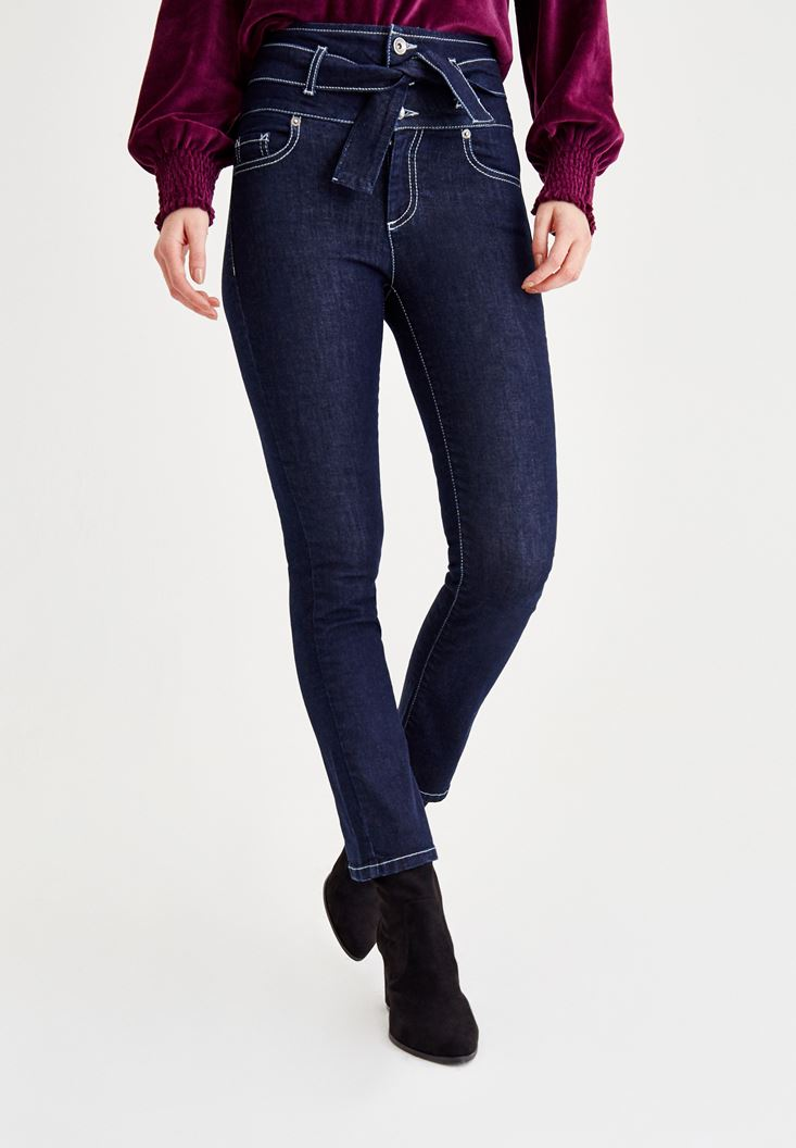 Blue Skinny Pants With Lace Detailed