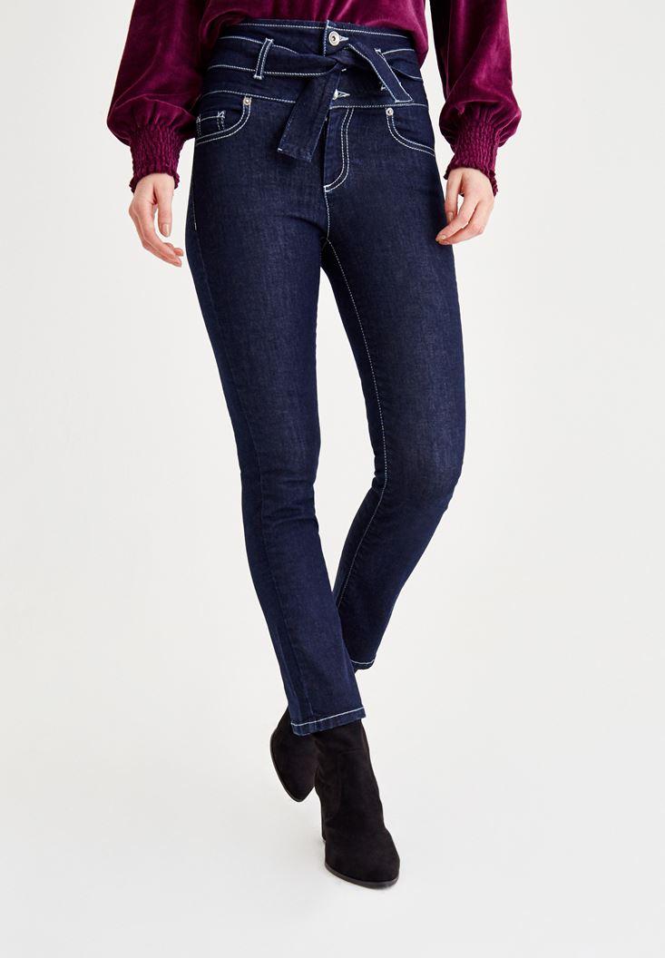 Mavi Beli Bağlama Detaylı Dar Paça Pantolon