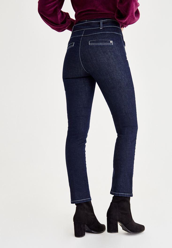 Bayan Mavi Beli Bağlama Detaylı Dar Paça Pantolon