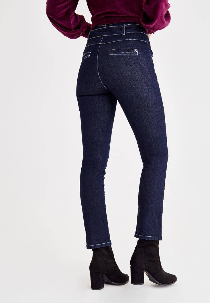 Women Blue Skinny Pants With Lace Detailed