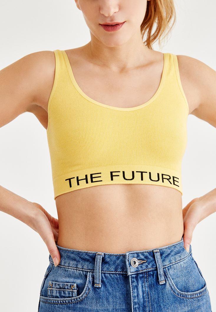 Bayan Sarı Sloganlı Büstiyer