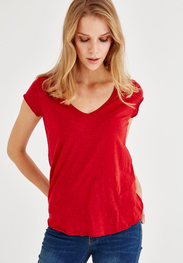 Kırmızı Kısa Kollu V Yaka Tişört