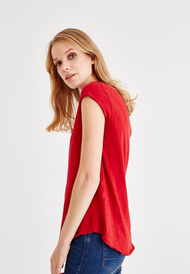 Bayan Kırmızı Kısa Kollu V Yaka Tişört