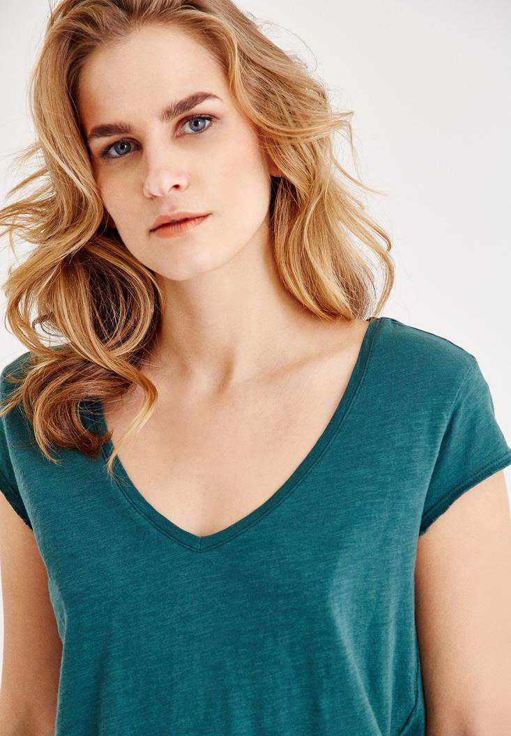 Bayan Yeşil Kısa Kollu V Yaka Tişört