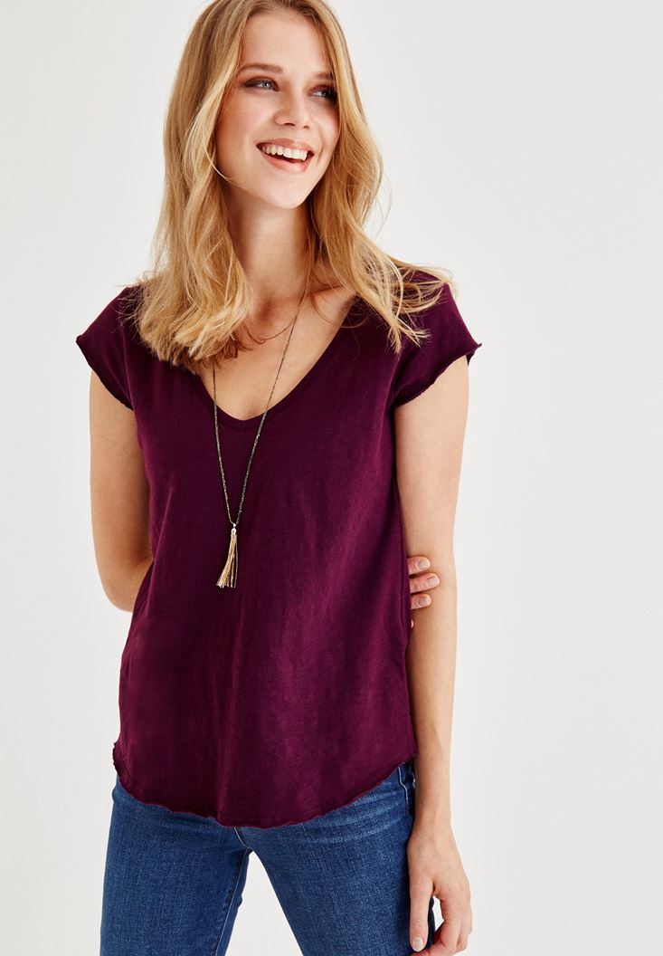 Purple V Neck Short-Sleeved T-Shirt