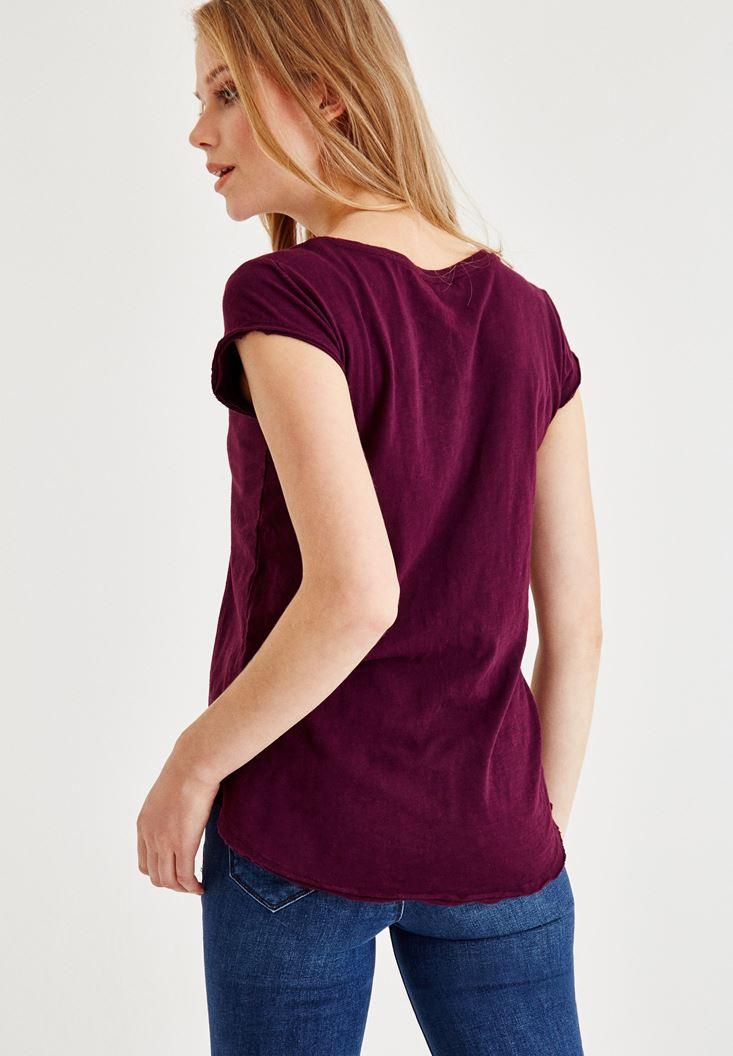 Bayan Bordo Kısa Kollu V Yaka Tişört