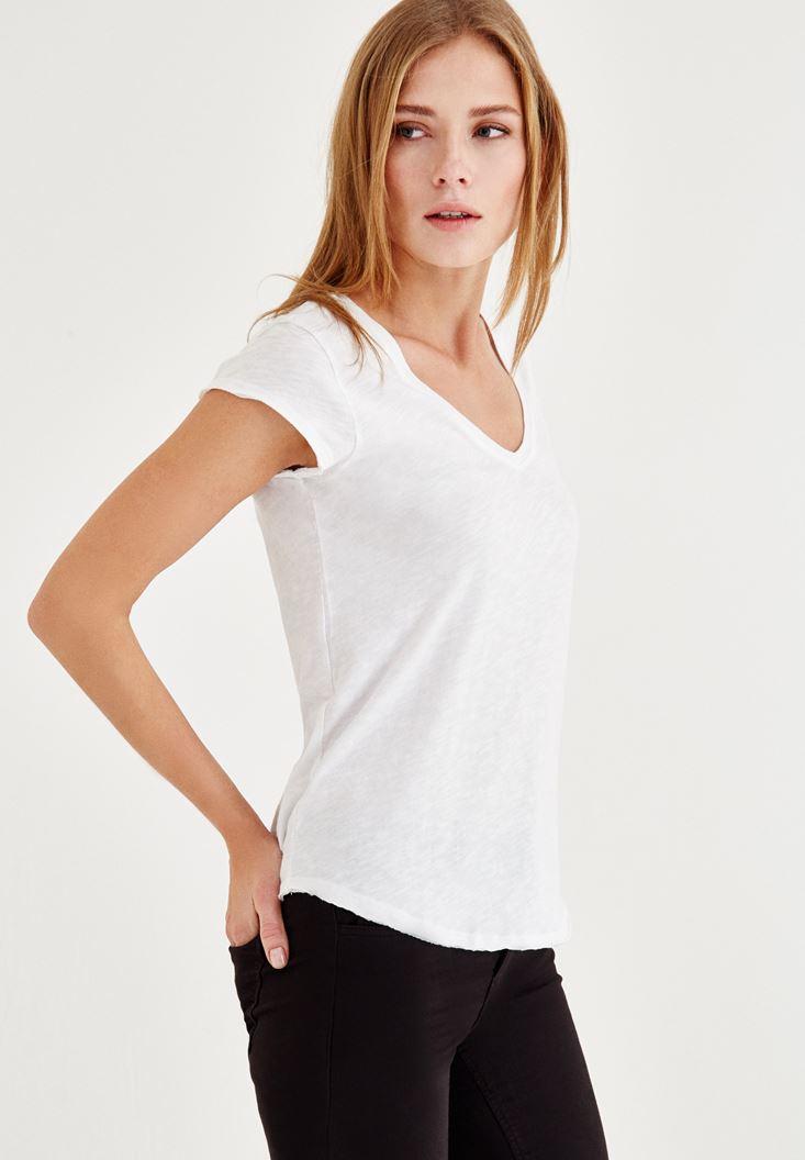 Beyaz Kısa Kollu V Yaka Tişört