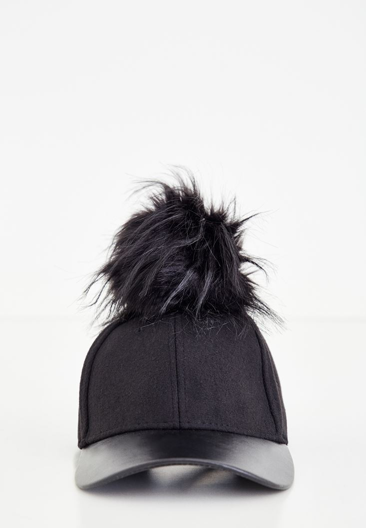 Black Hat With Fur and Leather Detail