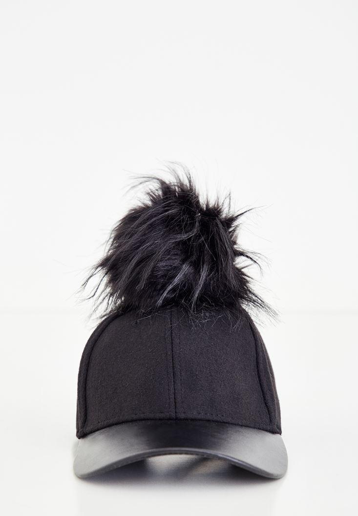 Siyah Tüylü Deri Detaylı Şapka