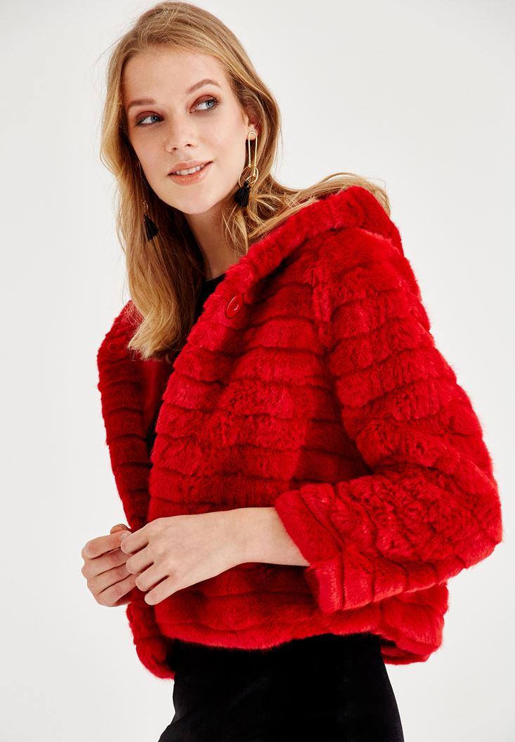 Kırmızı Şapka Detaylı Uzun Kollu Kürk