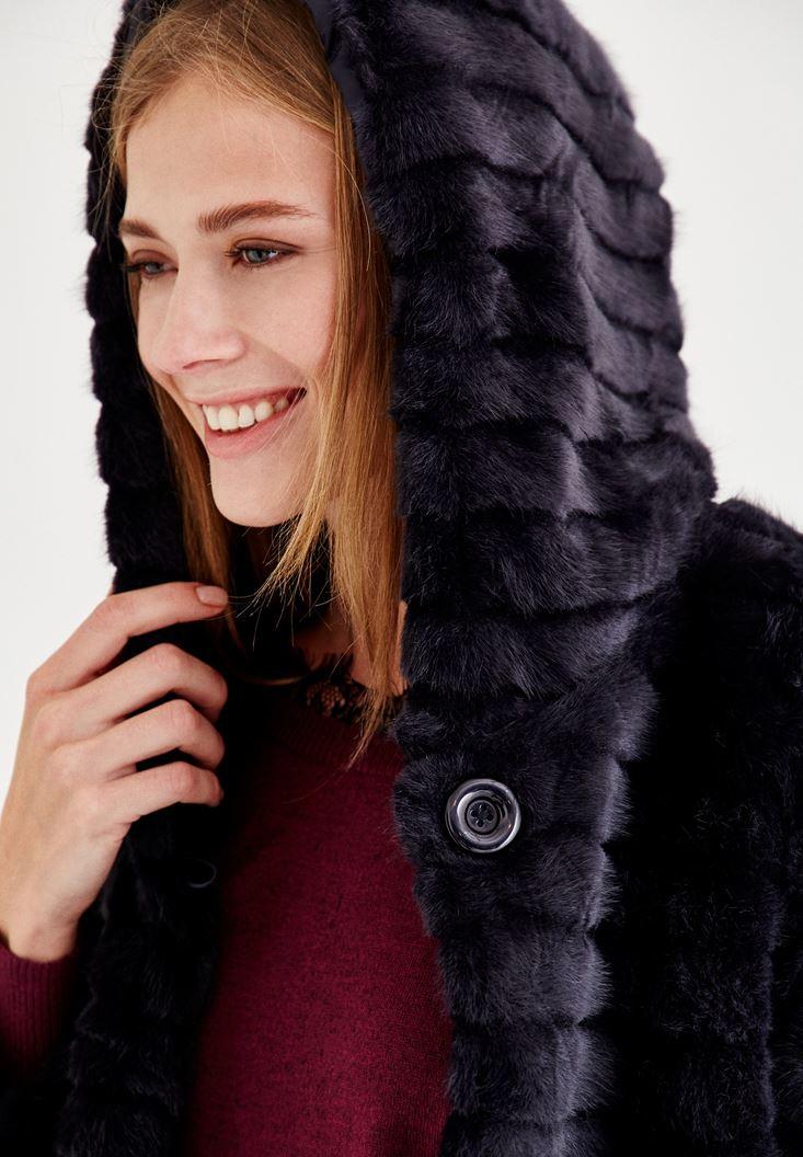 Bayan Lacivert Şapka Detaylı Uzun Kollu Kürk
