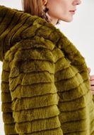 Bayan Yeşil Şapka Detaylı Uzun Kollu Kürk