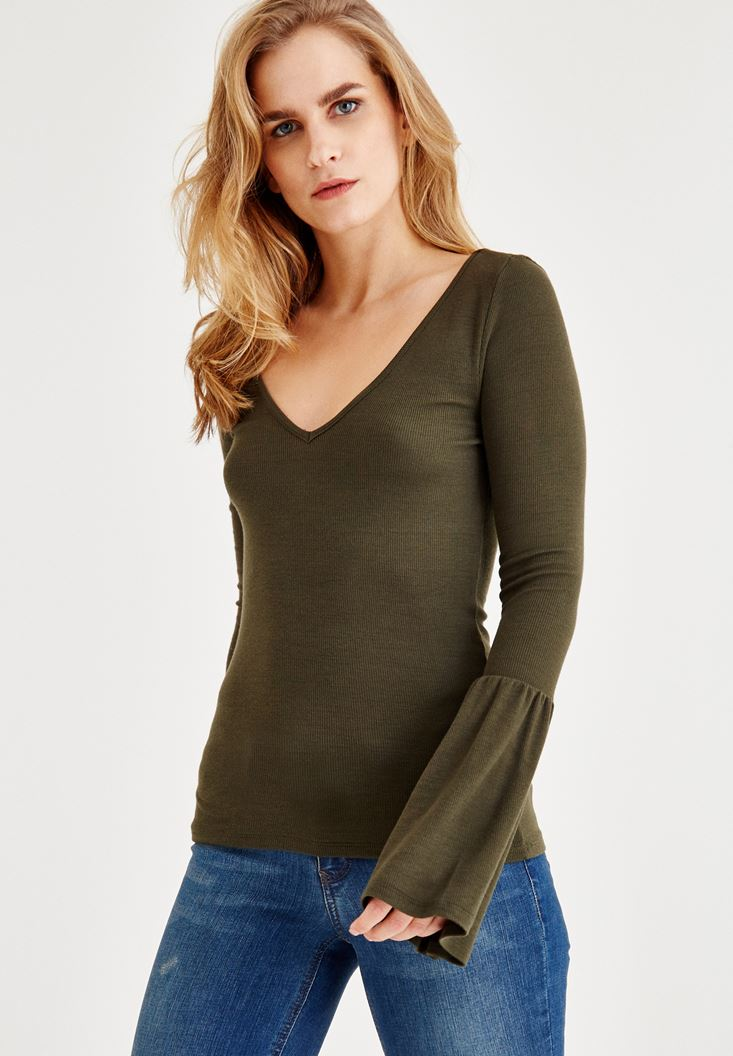 Green Long Sleeve V Neck T-Shirt