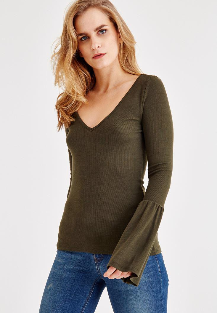 Bayan Yeşil Uzun Kollu V Yaka Tişört