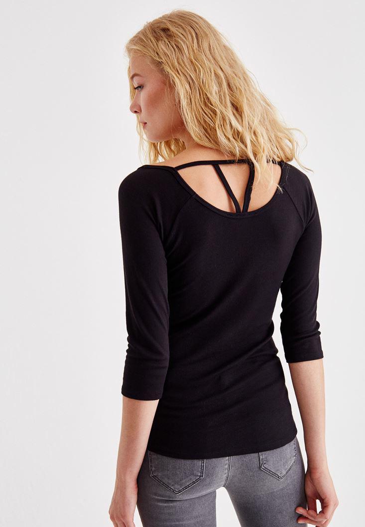 Bayan Siyah Ön ve Arka Biye Detaylı Bluz