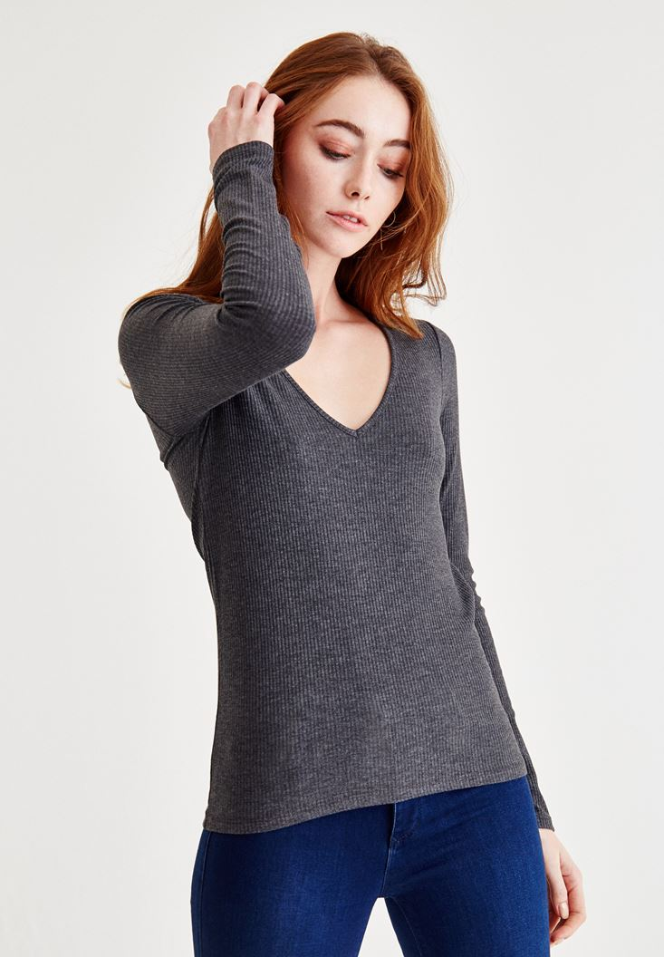 Grey Blouse With V Neck