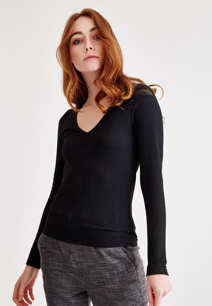 Bayan Siyah V Yaka Uzun Kollu Bluz