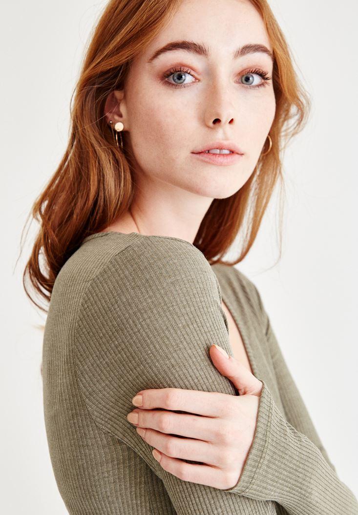 Bayan Yeşil V Yaka Uzun Kollu Bluz