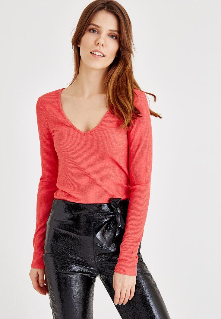 Kırmızı V Yaka Uzun Kollu Bluz
