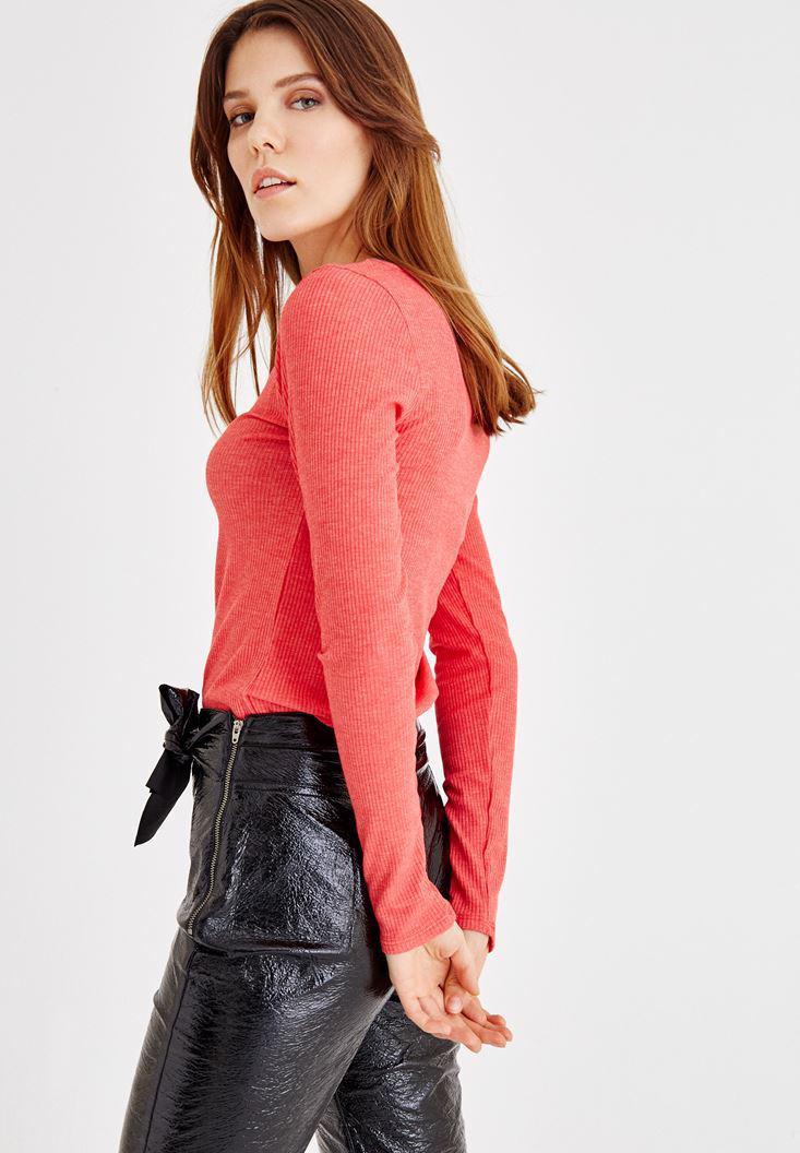 Bayan Kırmızı V Yaka Uzun Kollu Bluz