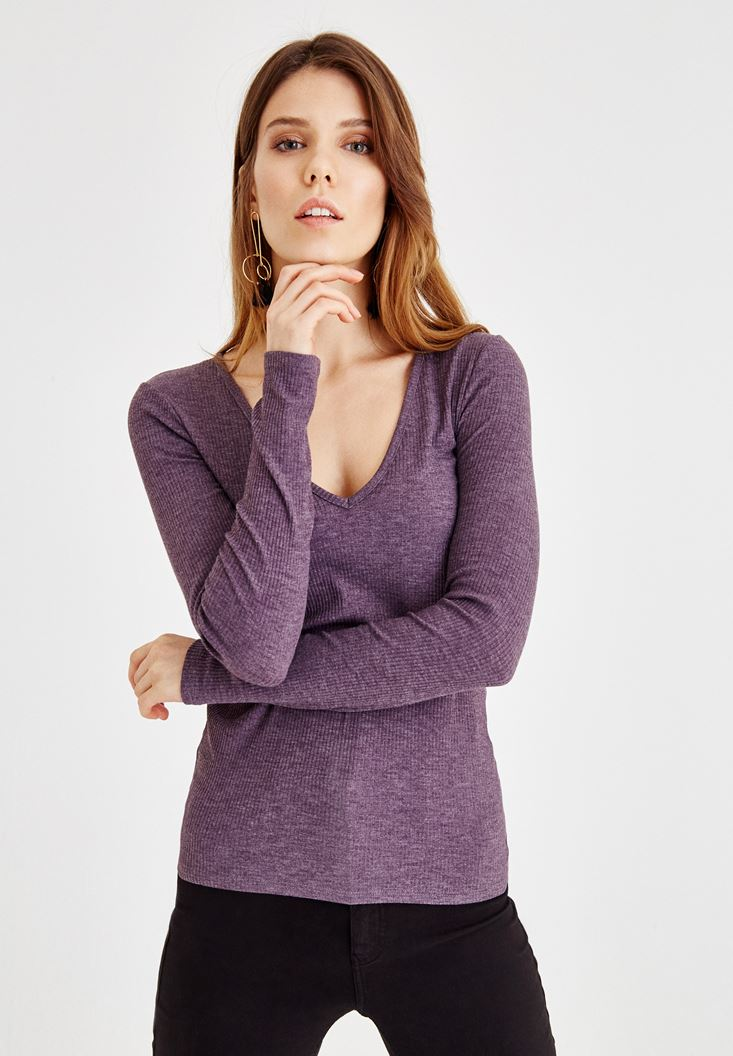 Purple Blouse With V Neck
