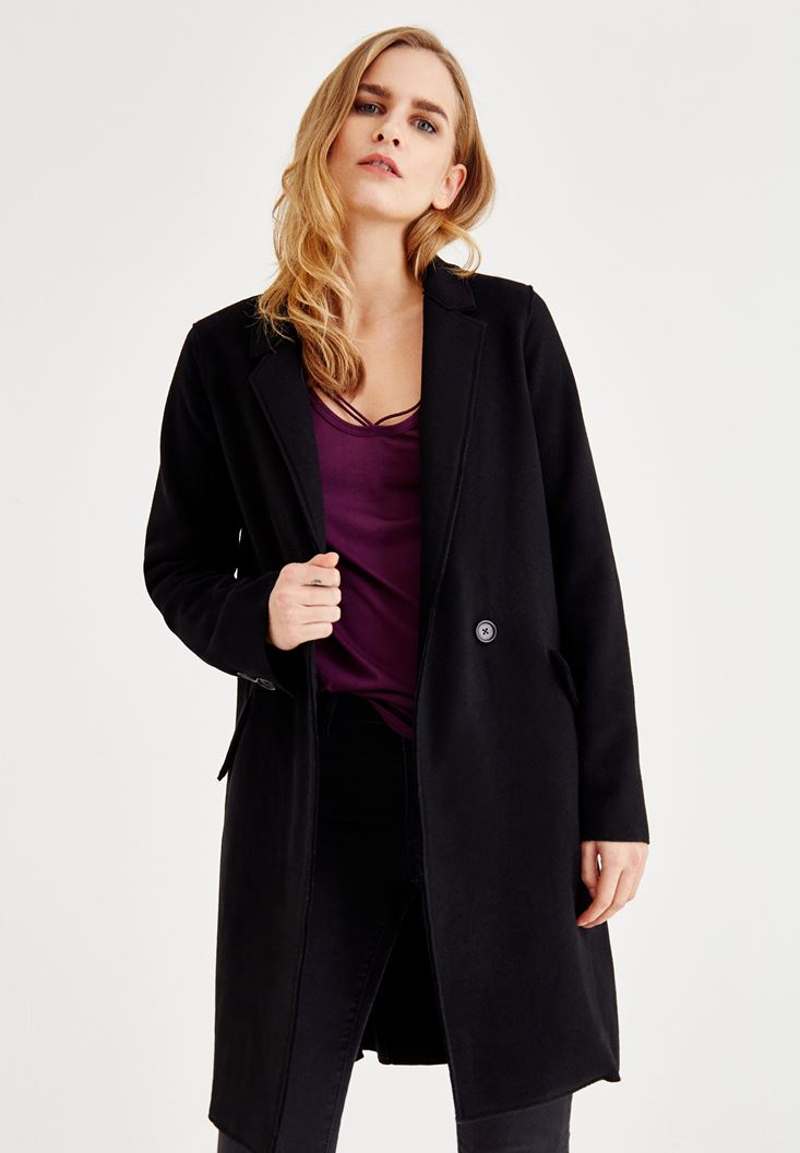 Black Stitched Cashmere Overcoat