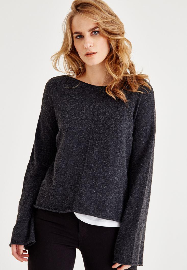 Grey Long Sleeve Knitwear with Cashmire