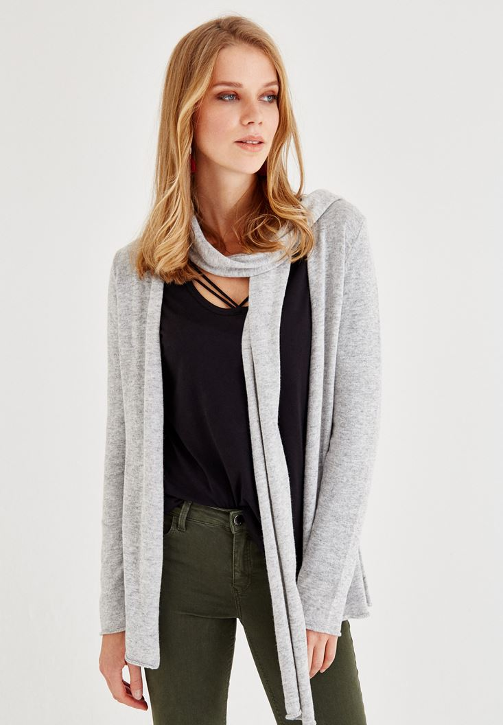 Grey Long Sleeve Cardigan with Neck Detailed