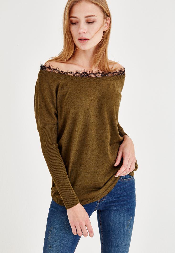 Yeşil Dantel Yaka Uzun Kollu Bluz