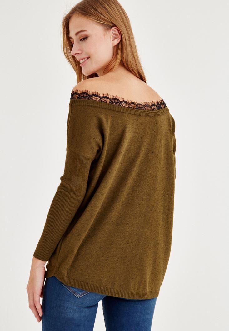 Bayan Yeşil Dantel Yaka Uzun Kollu Bluz
