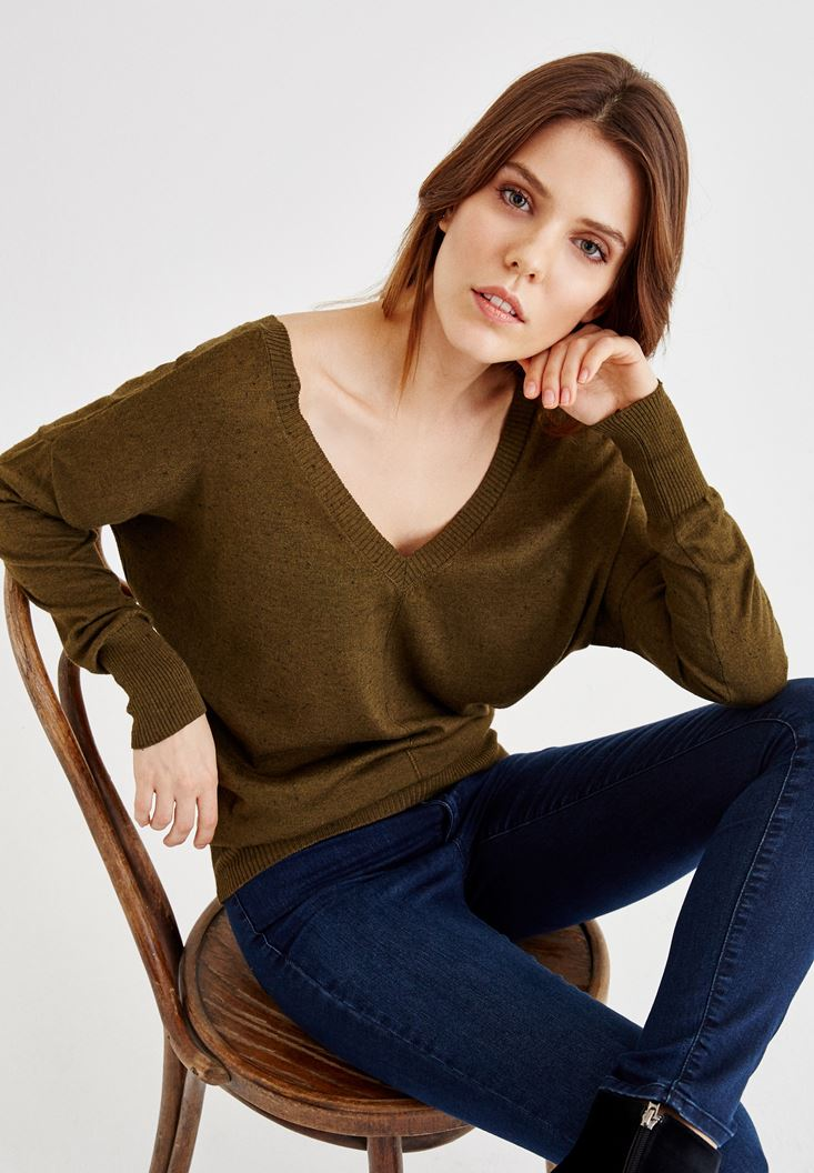 Green V Neck Pullover with Elastic Waist