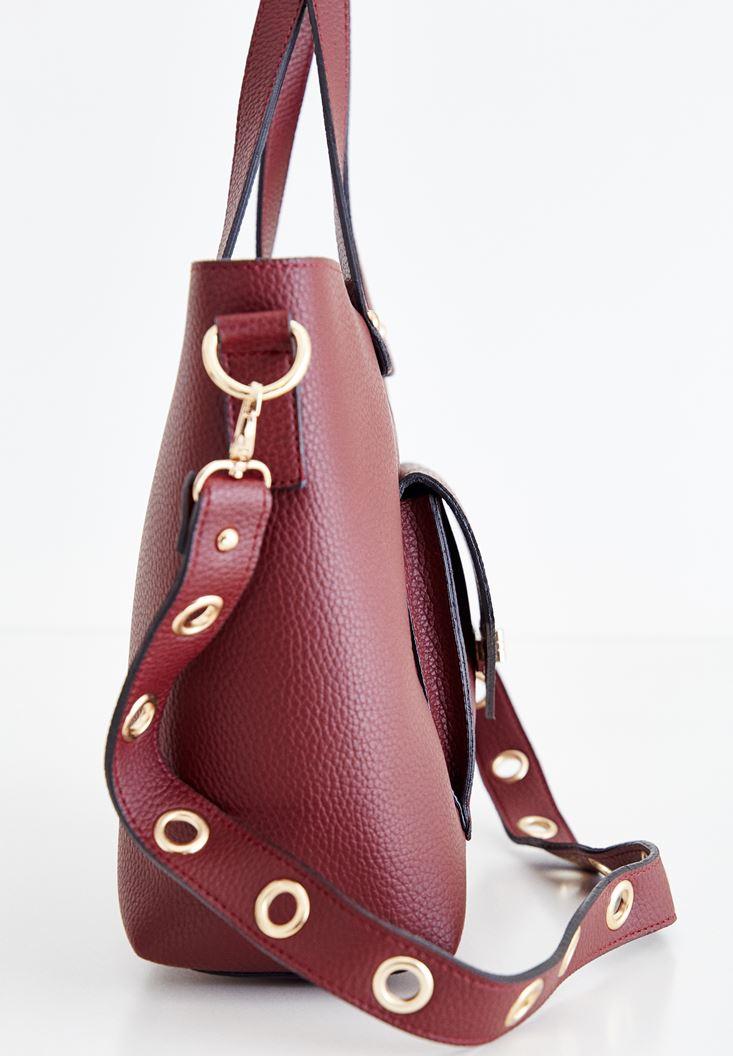 Bayan Bordo Kuşgözü Detaylı Çanta