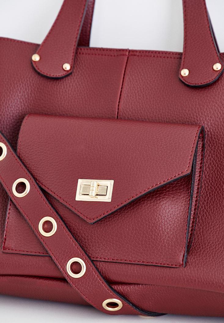 Women Bordeaux Bag with Eyelet Detailed