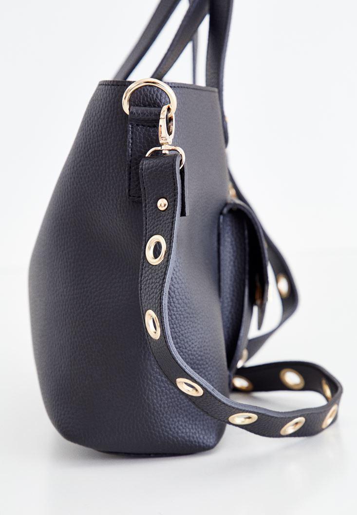 Bayan Siyah Kuşgözü Detaylı Çanta