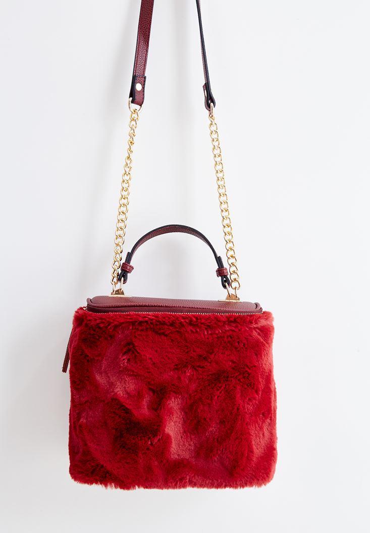 Bordo Kürk Detaylı Askılı Çanta