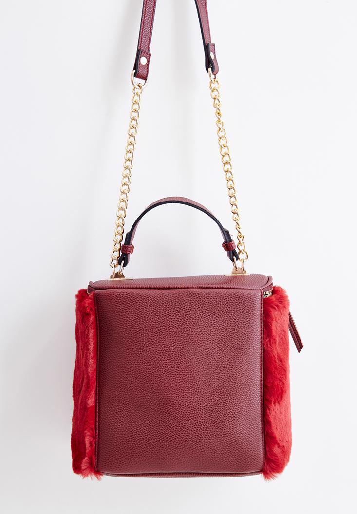 Bayan Bordo Kürk Detaylı Askılı Çanta