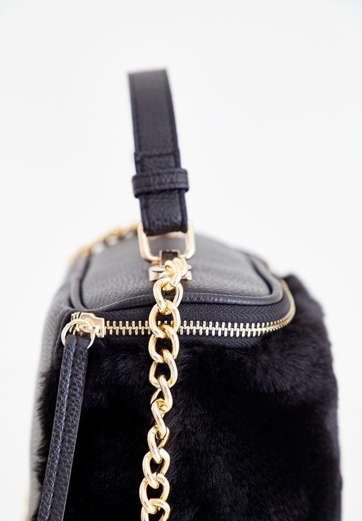 Bayan Siyah Kürk Detaylı Askılı Çanta