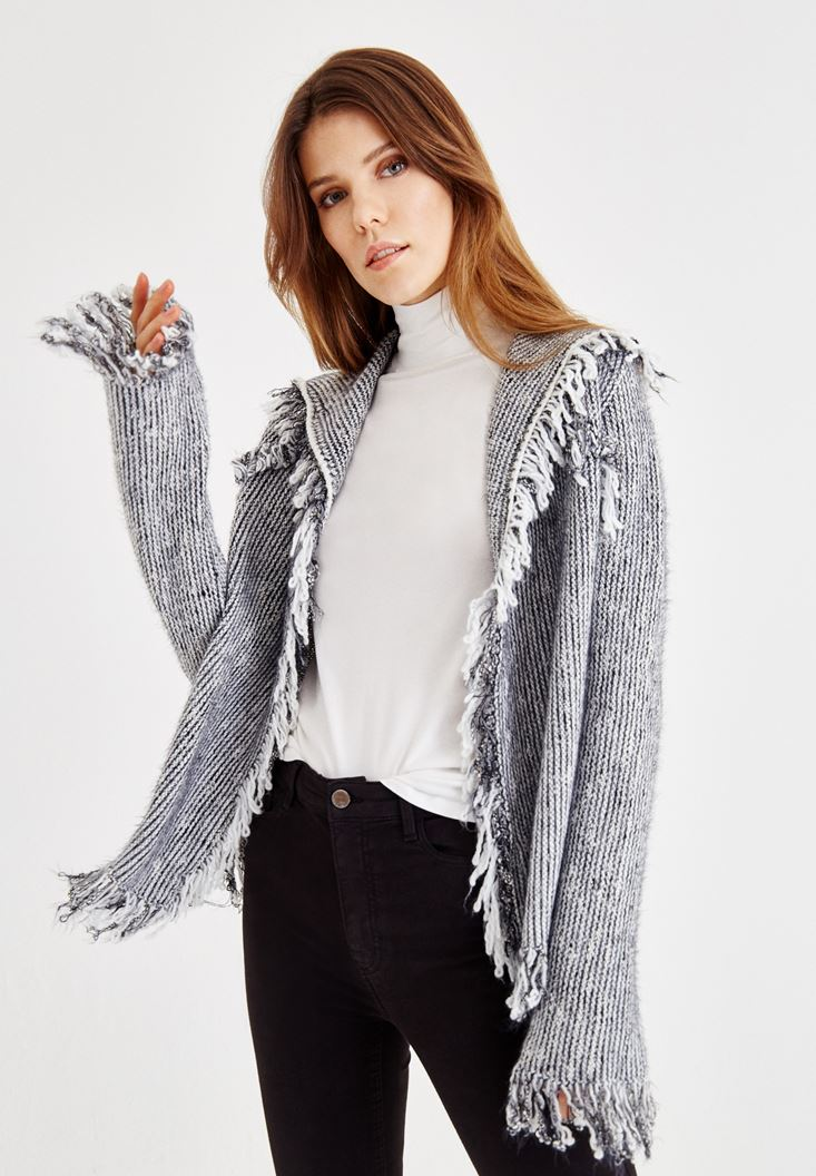 Grey Melange Cardigan with Tassel Detail
