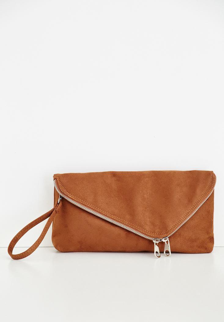 Kahverengi Zarf Kesim Detaylı Çanta