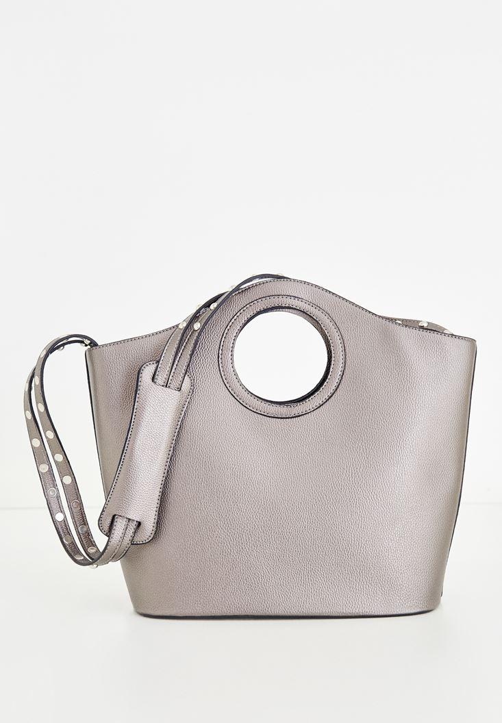 Gri Askısı Metal Detaylı Çanta