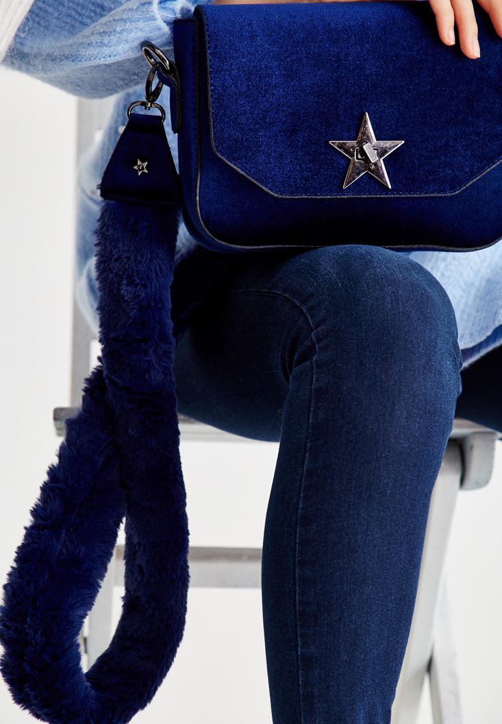 Blue Velvet Bag with Star Detail
