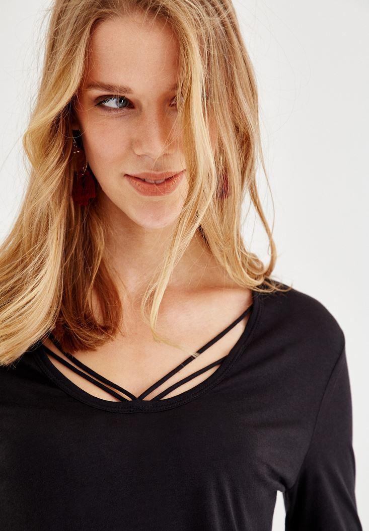 Bayan Siyah Biye Detaylı Uzun Kollu Tişört