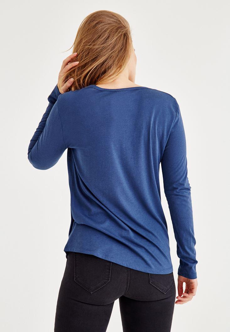 Bayan Mavi Biye Detaylı Uzun Kollu Tişört