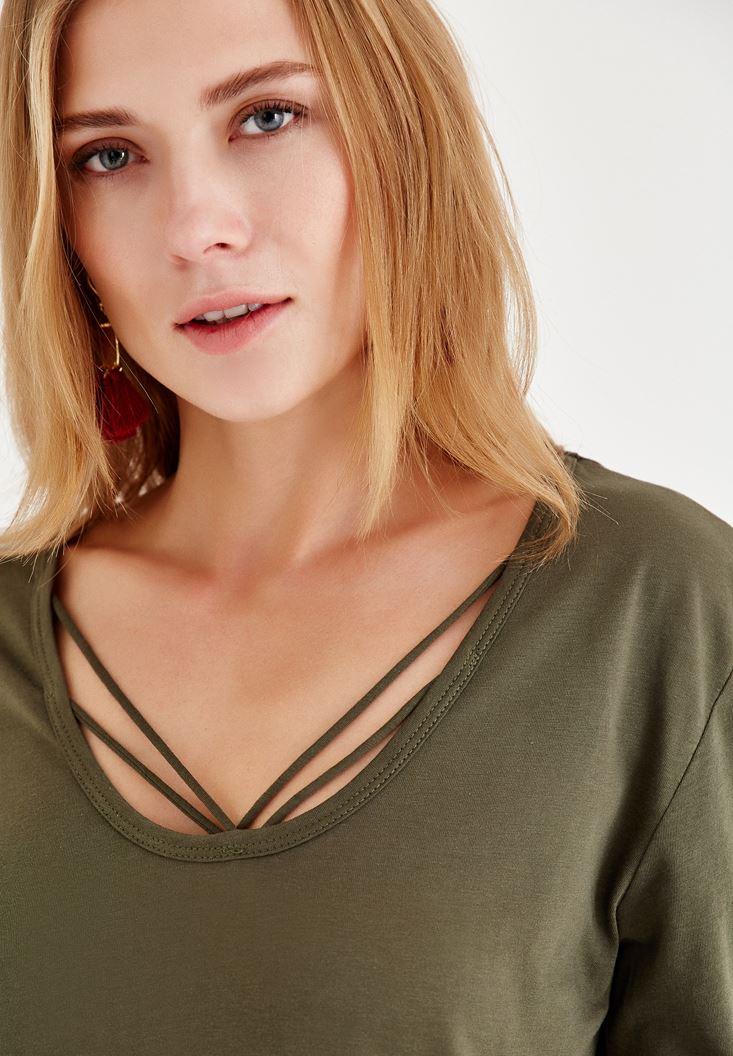 Bayan Yeşil Biye Detaylı Uzun Kollu Tişört